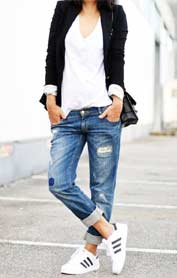 Casual White Tees with Denims