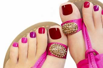 Painted toe nail